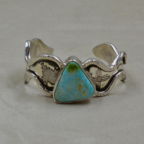 Natural Blue Royston Turquoise, Etched Zia Symbol, Silver Cuff by Cheryl Arviso