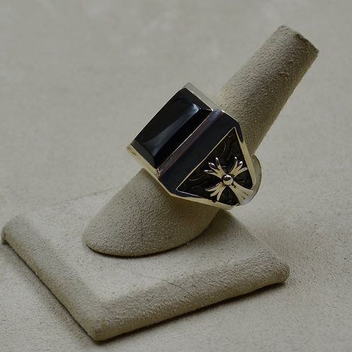 Small Stone Temple Onyx & Sterling Silver Cross 8x Ring by JL McKinney