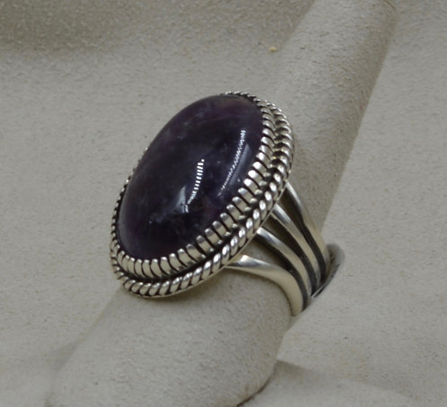 Sterling Silver with Sodalite 8.5X Ring by Marian Nez