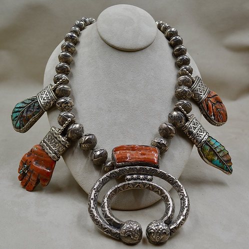 Handmade Beads & Carving, SS, Turquoise, Abalone Necklace by James R Nicholson