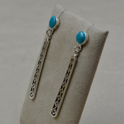 Sterling Silver Dangle Earrings w/ Blue Turquoise Cabs by Lente