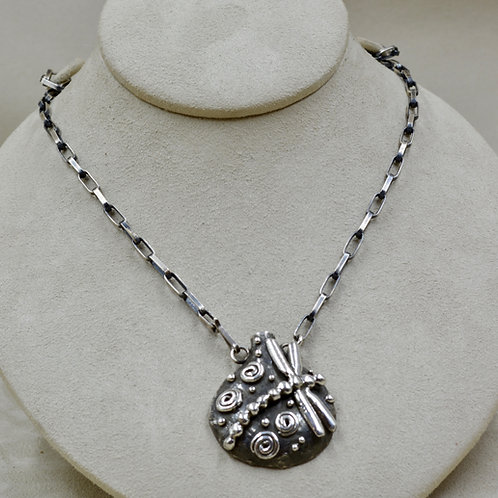 Lost Wax Dragonfly Necklace w/ Handmade Hopi SS Chain by Jacqueline Gala