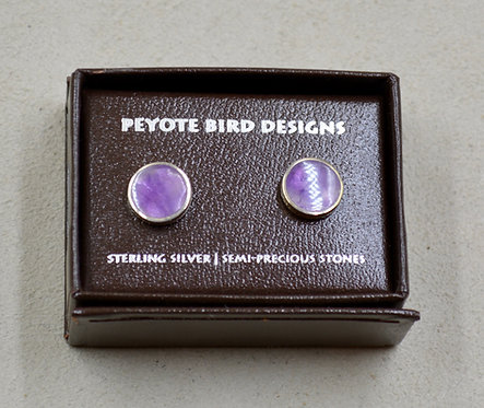 Flat Round Pearl Oyster Post Earrings by Peyote Bird Designs