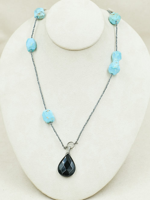 Fine Silver Thai Beads w/ TQ Nuggets on SS Chain Necklace by Reba Engel