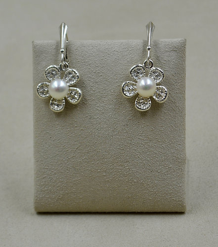 SS Tufa Flower Cast with Freshwater Pearl Earrings by Althea Cajero
