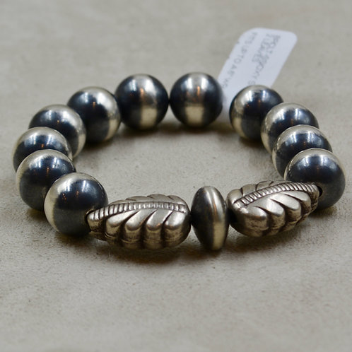 Oxidized Stretch 12mm S. Silver Bracelet w/ 2 Leaves by Shoofly