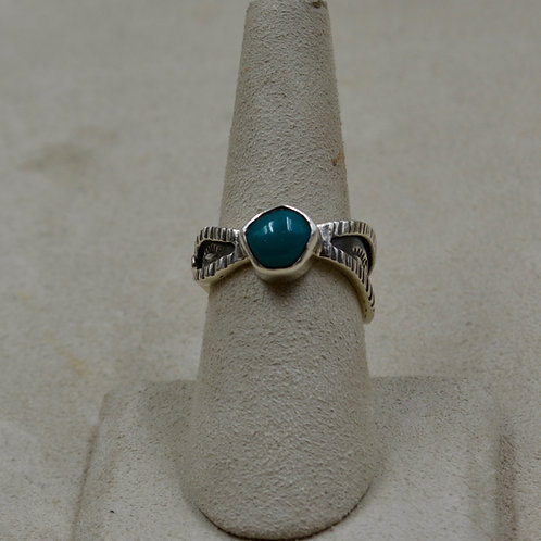 Fox Stab Turquoise & Sterling Silver 7.75x Ring by Cheryl Arviso