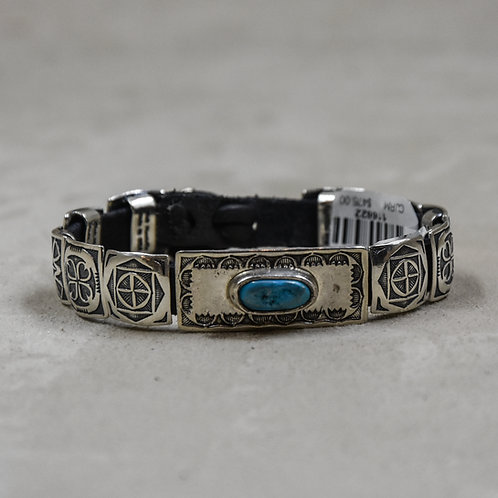 10 Square Sterling Silver Conchos w/ Turquoise Bracelet by Rick Montano