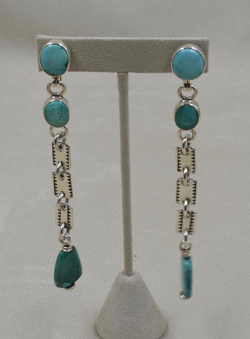 Tibetan Turquoise Cabs & Sterling Silver Earrings by Melanie DeLuca