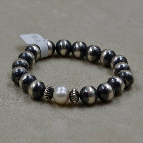 Oxidized Sterling Silver 10mm Freshwater Pearl Stretch Bracelet by Shoofly 505