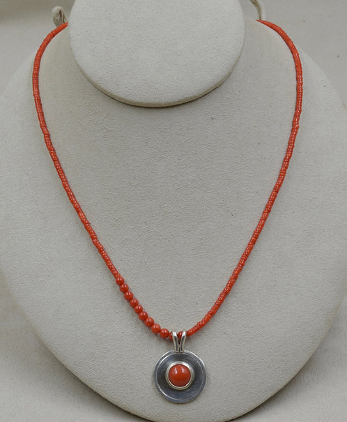 Freshwater Pearl & Red Coral Beaded Necklace by Joe Glover