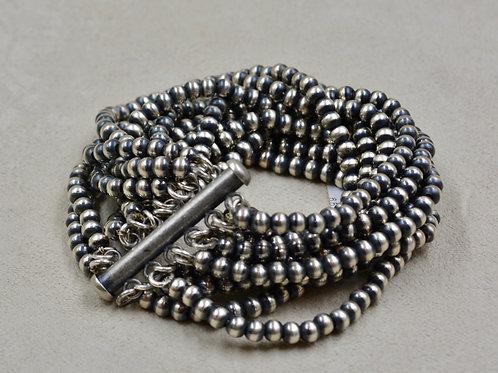 Navajo Pearls Oxidized Sterling Silver 12 Strand 4mm Beaded Bracelet