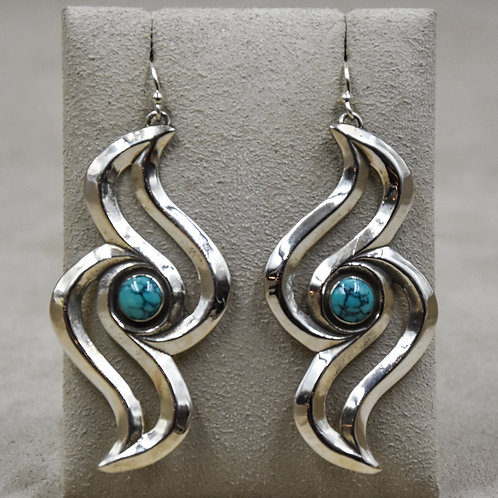 Single Raven Wave Earrings w/ Kingman Turquoiseby Gregory Segura