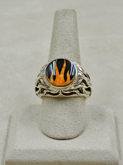 Flame 10x Ring w/ S. Silver w/ Black Jade, Spiny Oyster by GL Miller