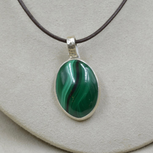 Malachite and Sterling Silver Pendant by Joe Glover