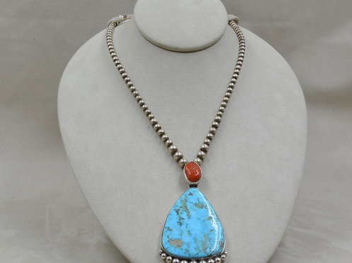 Med. Coral 9.75 Ct. & Natural Evans Turquoise 81.0 Ct Necklace by Jerry Faires