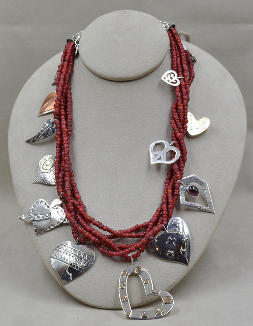 Sterling Silver Heart Charm Necklace by Richard Lindsay