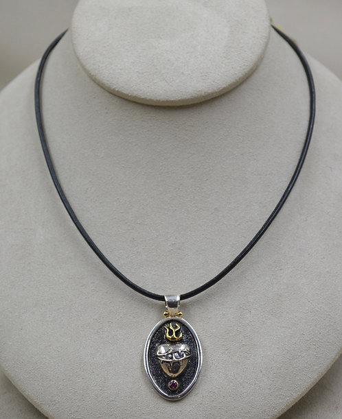 S. Silver Sacred Heart Oxidized, Leather & Rhodolite Necklace by Roulette 18