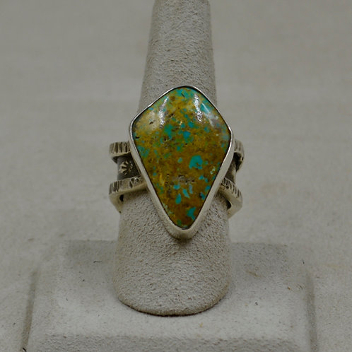 Nat. Green Royston Turquoise, Cloud Shank, 9.5x S. Silver Ring by Cheryl Arviso