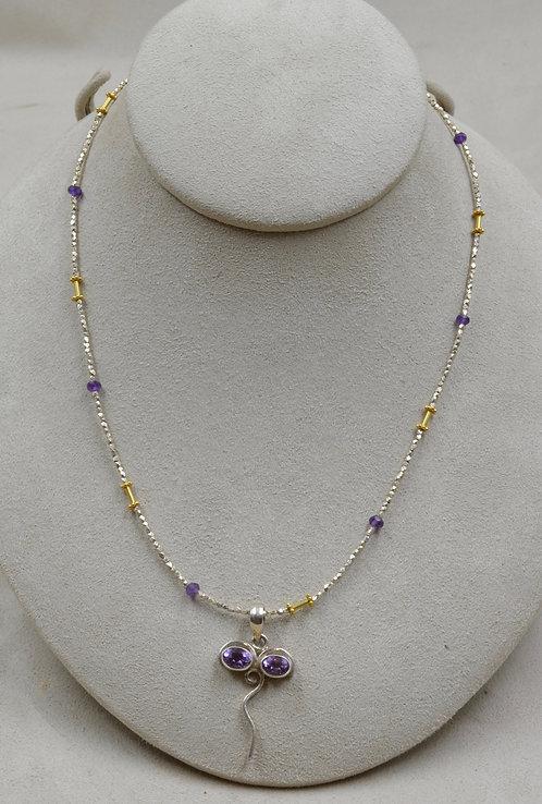 Amethyst, Buddha Eyes, S. Silver & 22k Gold Necklace by Joan Kallas