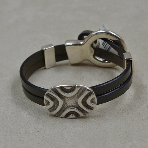 Gray Oval 2 Oval Sliders Plated Bracelet by Sippecan Designs