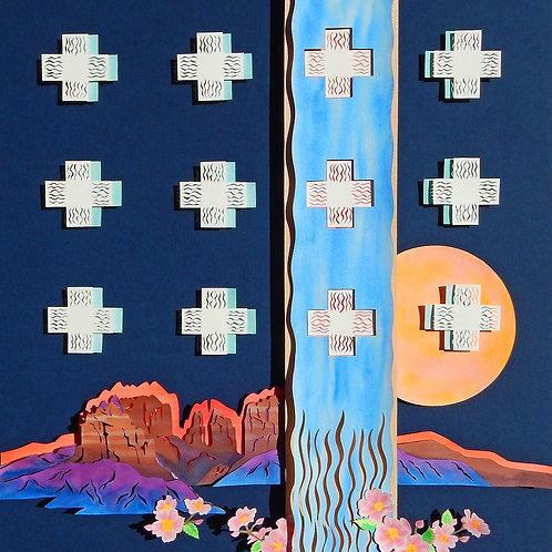 """Desert Dreams, Prairie Roses"" Paper Cut & WC by Emily Nell Yellowbird"