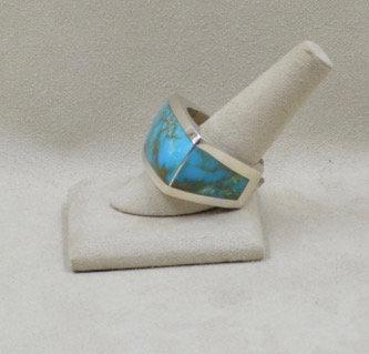 Wrap Around Men's Kingman Turquoise Ring 13X by JL McKinney