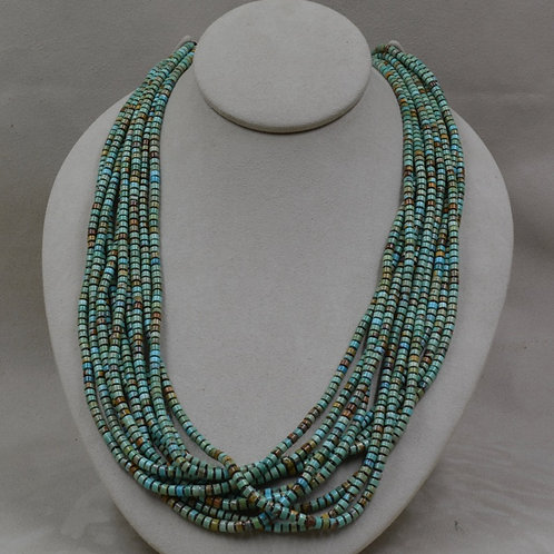 10 Strand S. Silver Necklace w/ Nevada Green Turquoise by Kenneth Aguilar