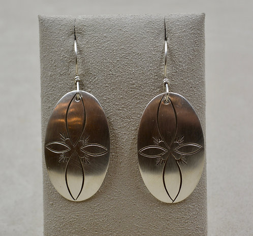 Oval Stamped Satin Sterling Silver Earrings by Cheryl Arviso