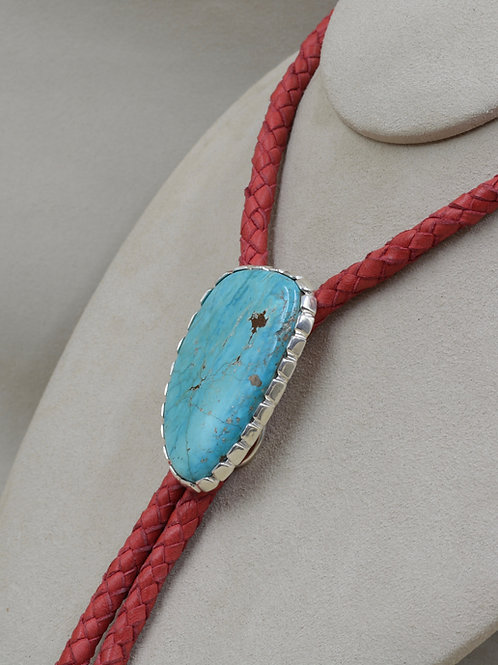 Hand-forged S.S. w/ 80 Cts Natural Crescent Valley Turquoise Bolo by J.P. Arviso