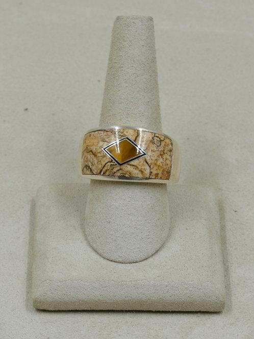 Domed Ethnic Tigereye, Jasper, & S. Silver 13x Ring by GL Miller Studio