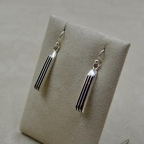 Short Oxidized Sterling Silver 4 Row Drop Earrings by Frances Jones