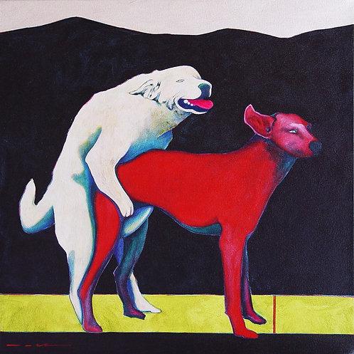 """""""Puppy Love"""" - Acrylic on Canvas - 24"""" x 24"""" - by Rhett Lynch"""