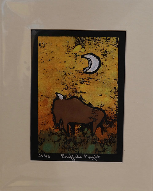"""""""Buffalo Night"""" 24/45 Hand-Pulled Block Print by Sandy Swallow"""