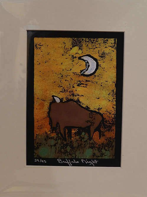 """Buffalo Night"" 24/45 Hand-Pulled Block Print by Sandy Swallow"