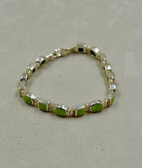 Gaspeite Multi-Shaped Tennis Bracelet w/ S. Silver by Peyote Bird