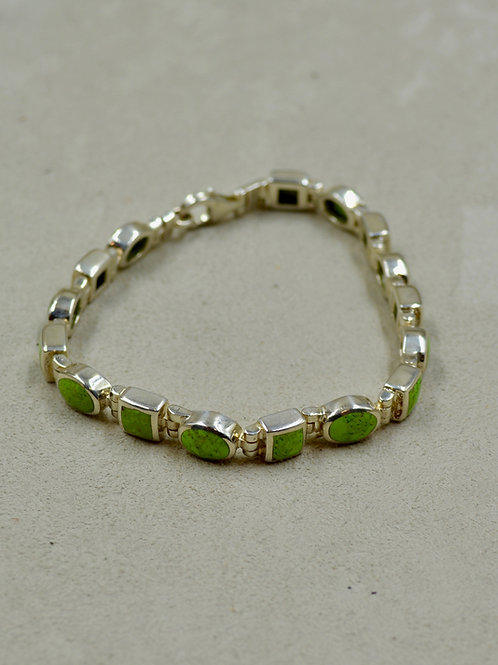 Gaspeite Multi-Shaped Tennis Bracelet w/ S. Silver by Peyote Bird
