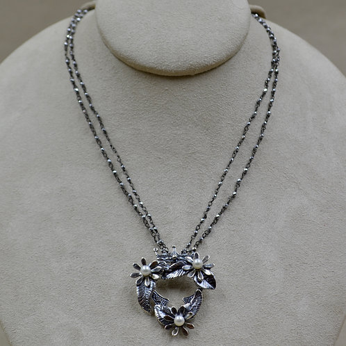 Crowns and Flowers, Diamond Cut Hematite, Silver Necklace by Michele McMillan