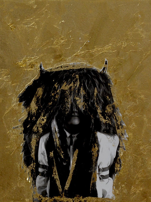 """""""Yes, Please"""" Black & White Photo w/ Gold Leaf -14"""" x 11"""" -by Robert M"""