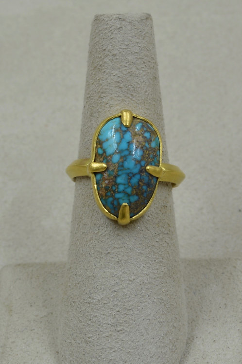 22k Gold, Turquoise w/ Prongs & Triangle Shank 6.25x Ring by Pamela Farland