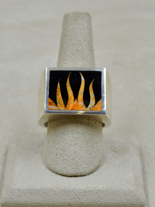 Flame 12x Ring w/ S. Silver w/ Black Jade, Spiny Oyster by GL Miller