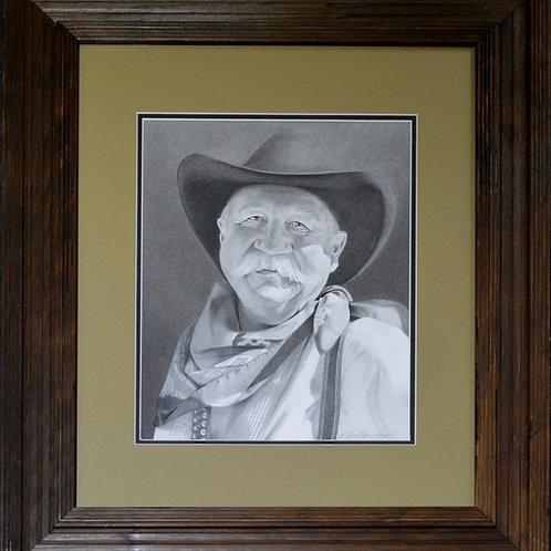 """""""Grandpa"""" Original Framed Graphite - 26"""" x 21.5"""" - by Karen Clarkson"""