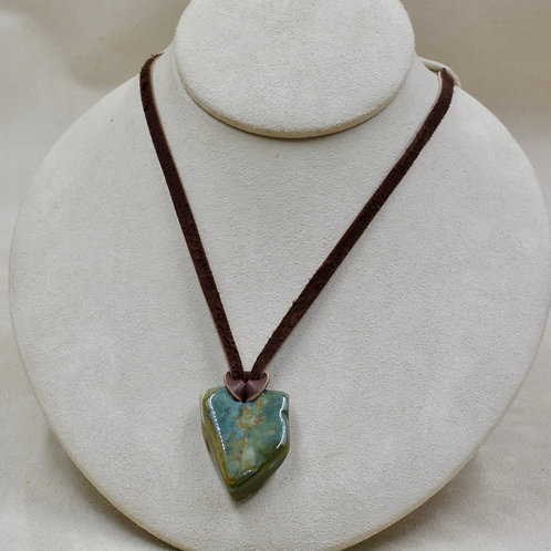 "McDermitt Jasper Triangle on 26"" Adjustable Leather Necklace by Joe Glover"