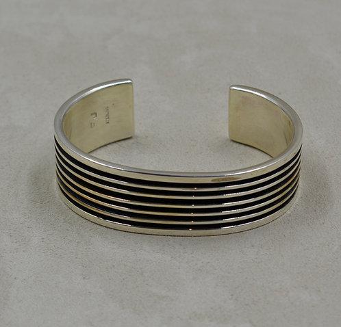 Oxidized Sterling Silver 7 Row Wide Cuff by Frances Jones