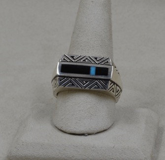 Sterling Silver Men's Flat Top Turquoise & Onyx 11X Ring by Lente