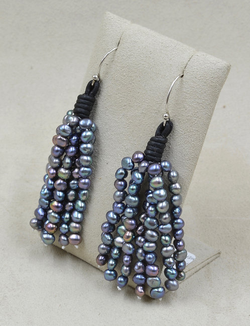 7 Strand Peacock Pearl Earrings by US Pearl Co.