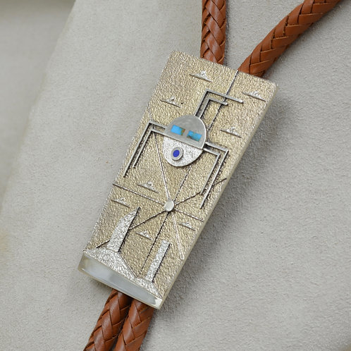 S. S. Tufa w/ Patina - M. Valley & Yei - Bisbee Turquoise Bolo by Ric Charlie
