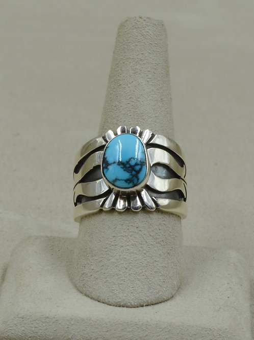 Sterling Silver & Natural Candelaria Turquoise Overlay 9.5x Ring by Leonard Nez