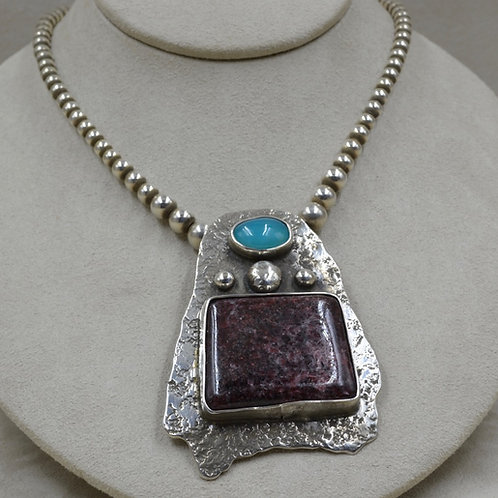 Sterling Silver, Gem Silica, & Rose Muscovite Necklace by Jerry Faires