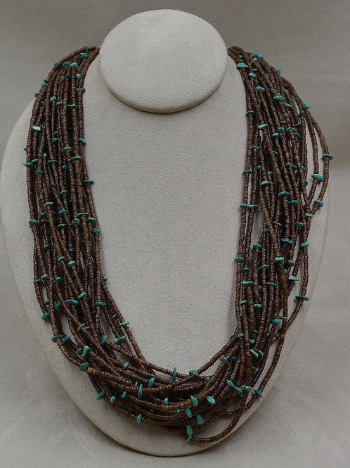 Baby Olive Shell Heishi w/ Turquoise Beads by Peyote Bird